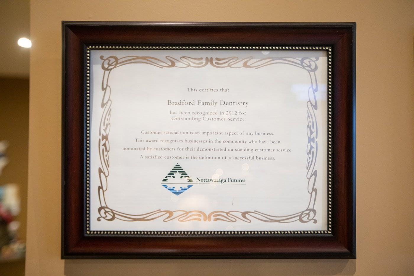 Outstanding Customer Service Award - Nottawasaga Futures - 2012
