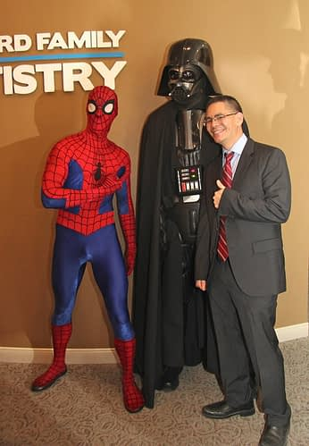 Bradford Family Dentistry Dr. Chai with Spider-Man and Darth Vader