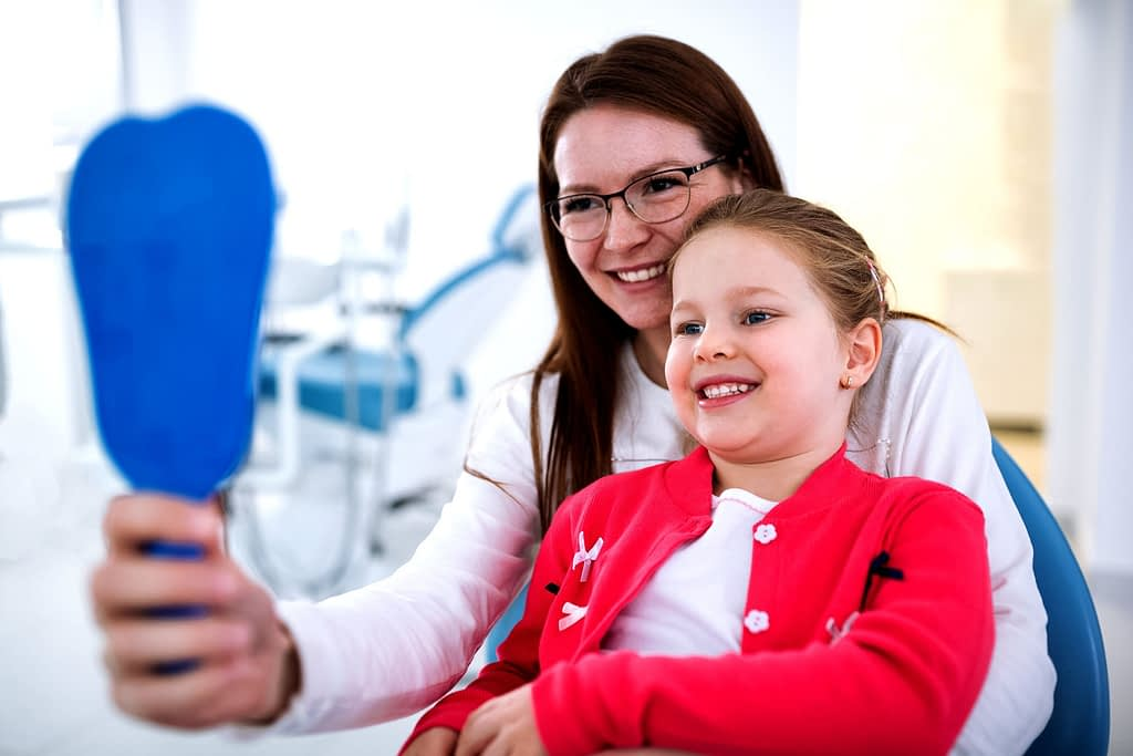 Mom and Child at Dentist - Bradford Dentist